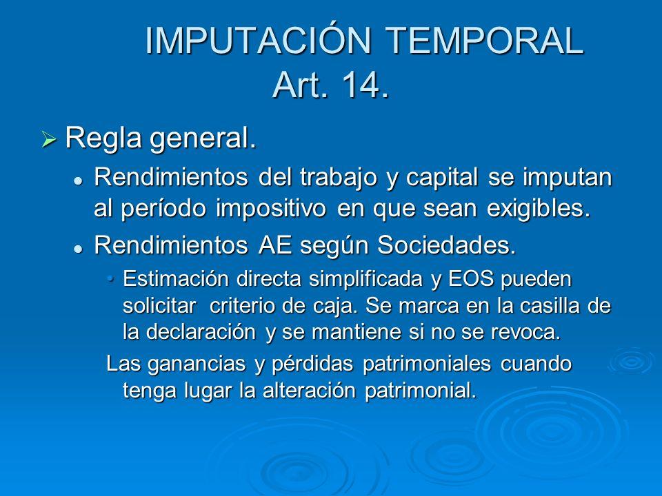 IMPUTACIÓN TEMPORAL Art. 14.