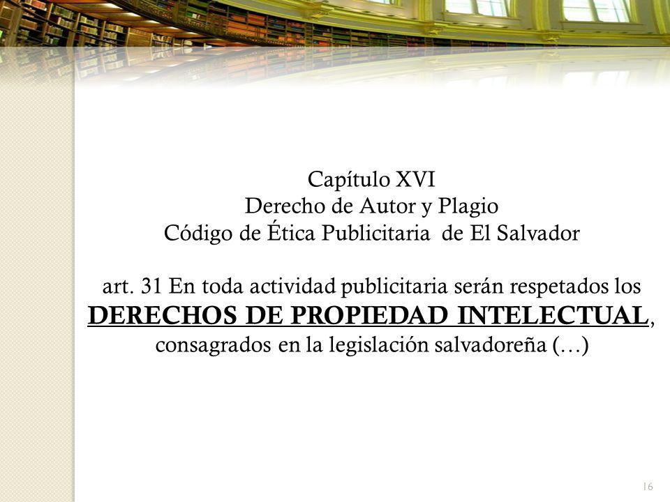Derecho de Autor y Plagio Código de Ética Publicitaria de El Salvador