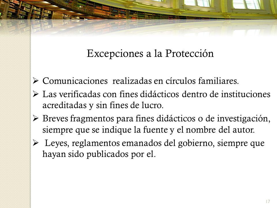 Excepciones a la Protección