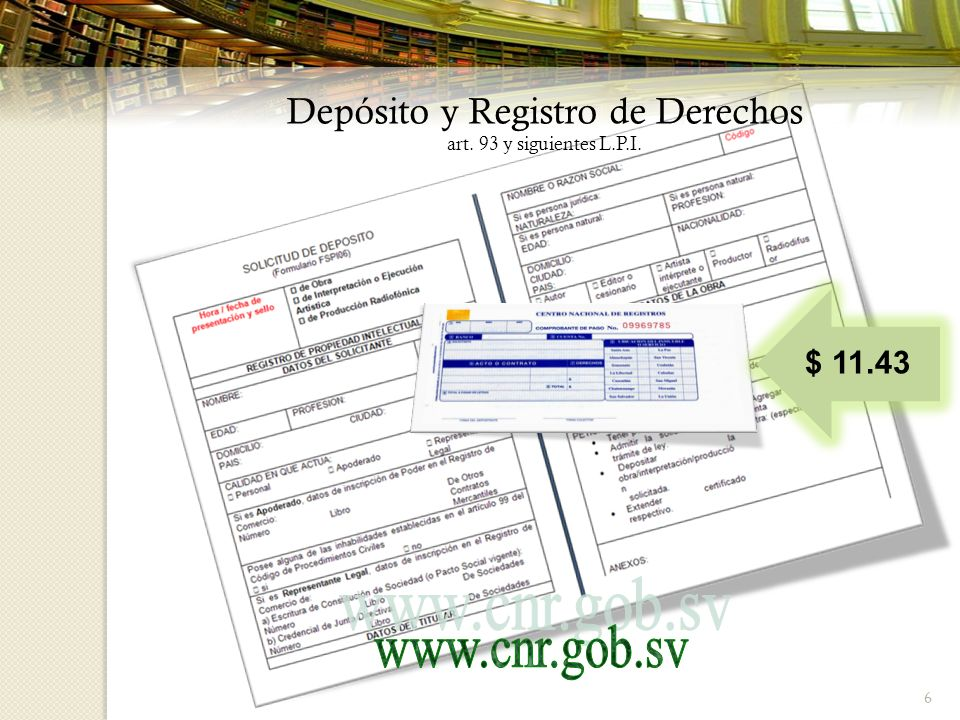Depósito y Registro de Derechos