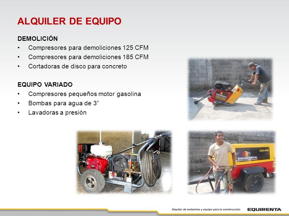 ALQUILER DE EQUIPO DEMOLICIÓN Compresores para demoliciones 125 CFM