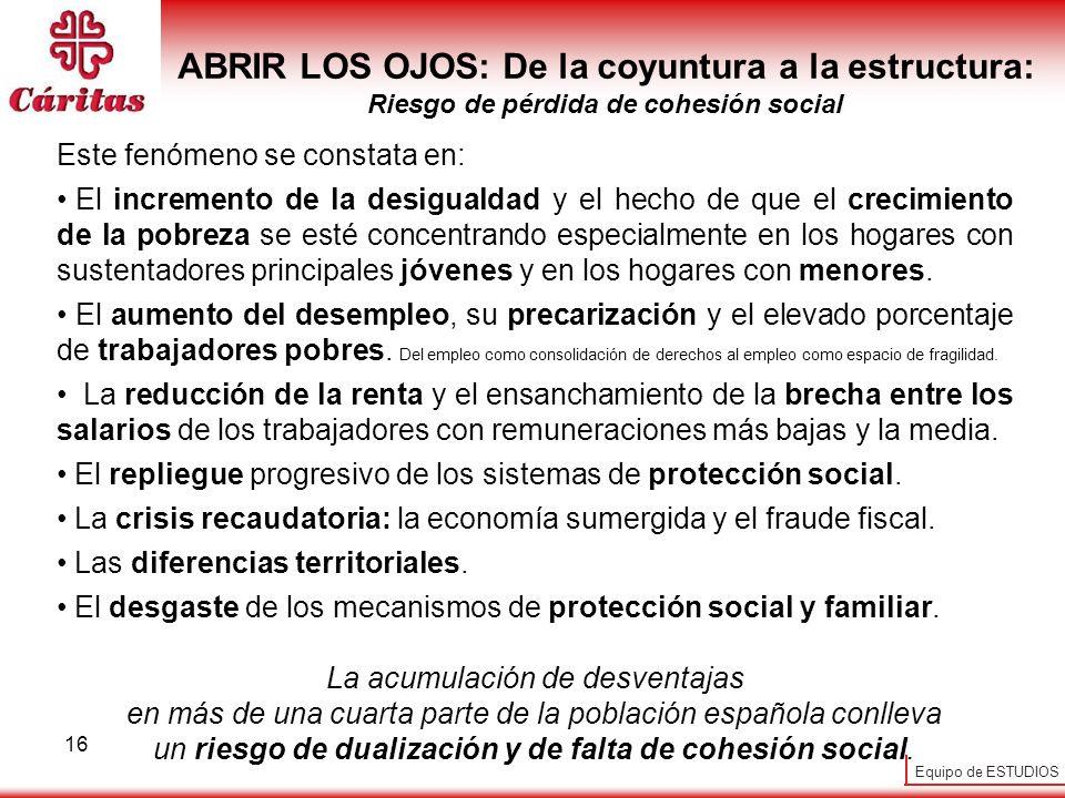 ABRIR LOS OJOS: De la coyuntura a la estructura: Riesgo de pérdida de cohesión social