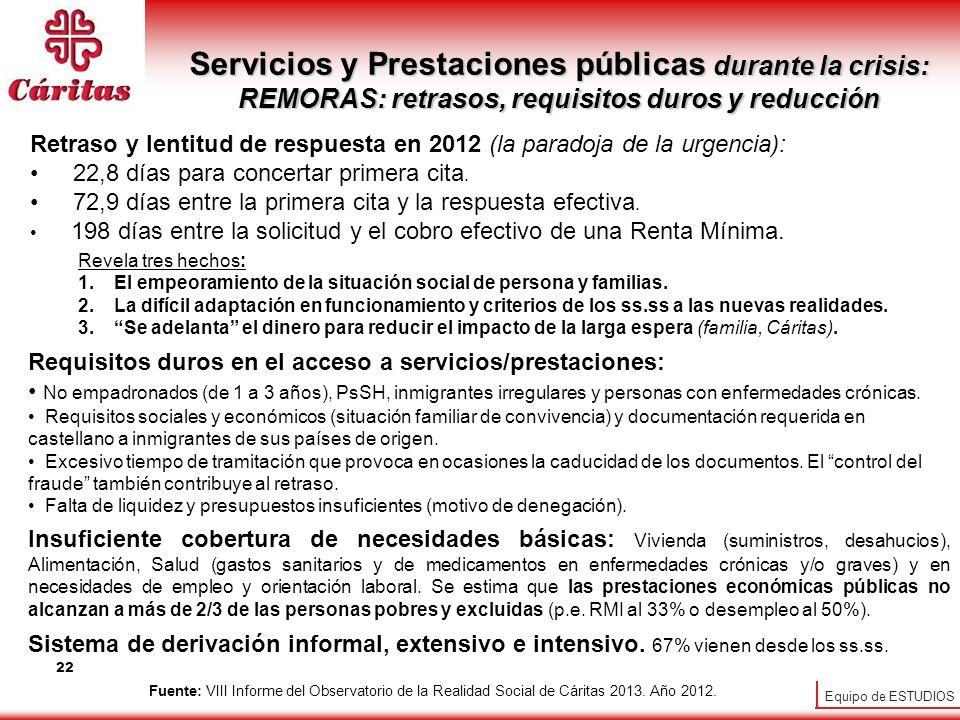 Servicios y Prestaciones públicas durante la crisis: REMORAS: retrasos, requisitos duros y reducción