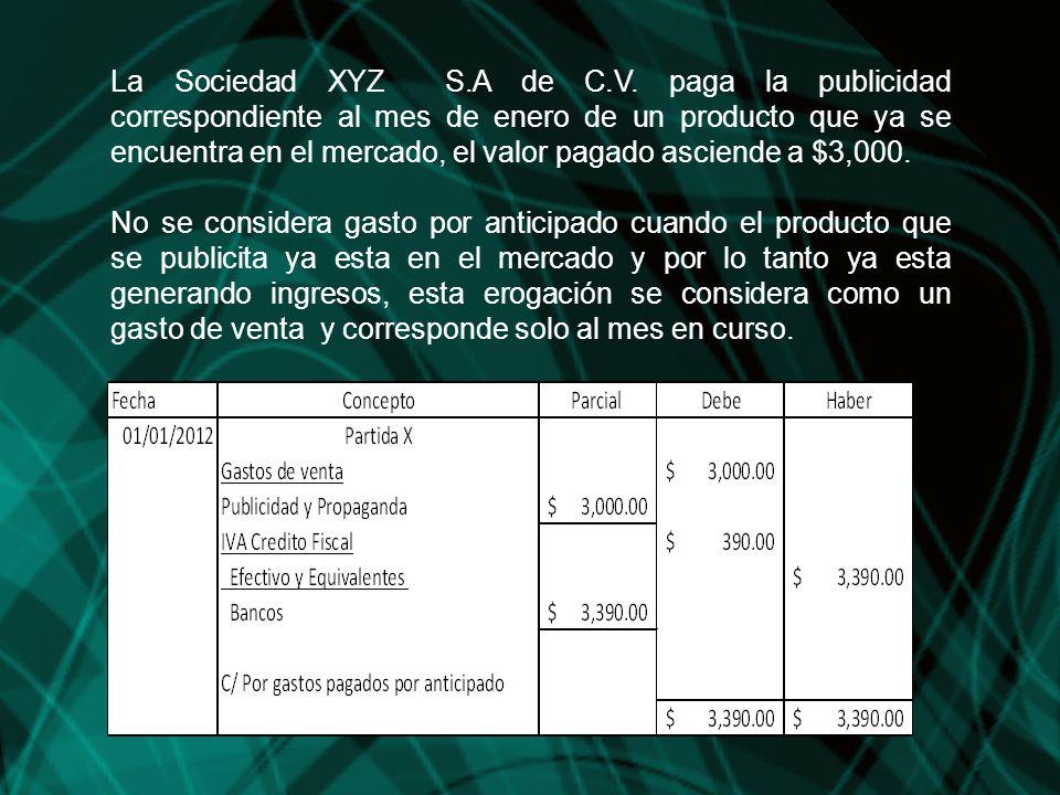 La Sociedad XYZ S.A de C.V. paga la publicidad correspondiente al mes de enero de un producto que ya se encuentra en el mercado, el valor pagado asciende a $3,000.