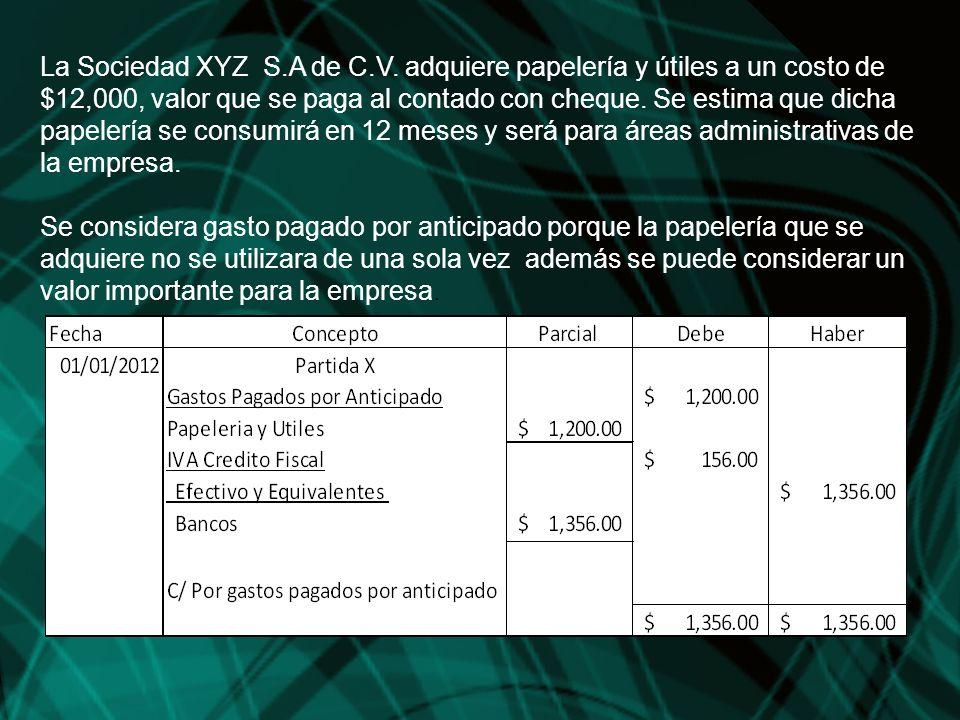 La Sociedad XYZ S.A de C.V. adquiere papelería y útiles a un costo de $12,000, valor que se paga al contado con cheque. Se estima que dicha papelería se consumirá en 12 meses y será para áreas administrativas de la empresa.