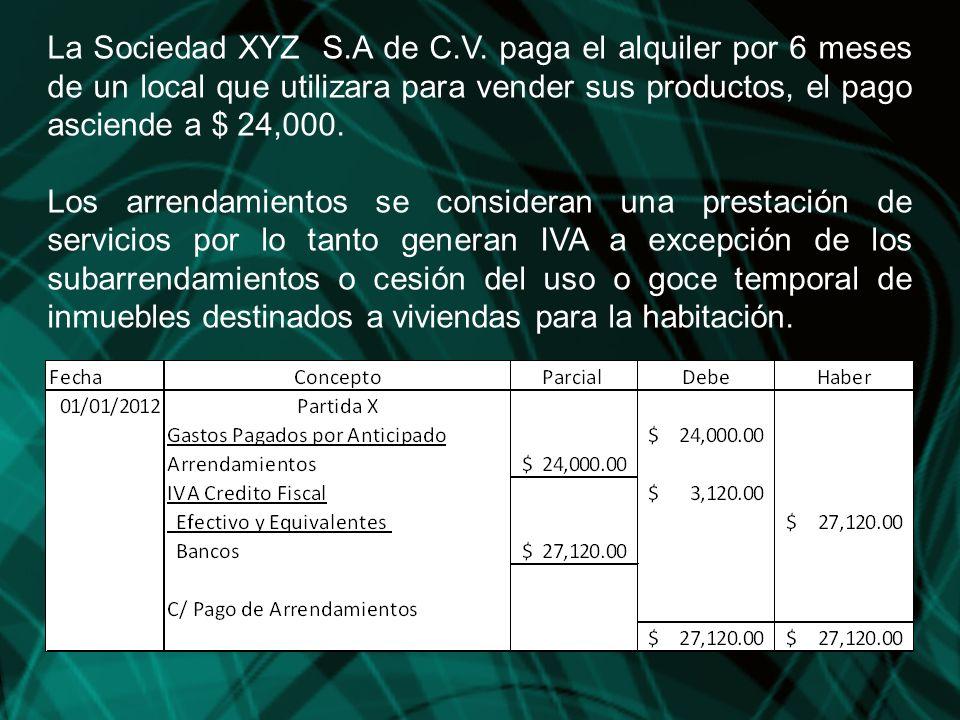 La Sociedad XYZ S.A de C.V. paga el alquiler por 6 meses de un local que utilizara para vender sus productos, el pago asciende a $ 24,000.