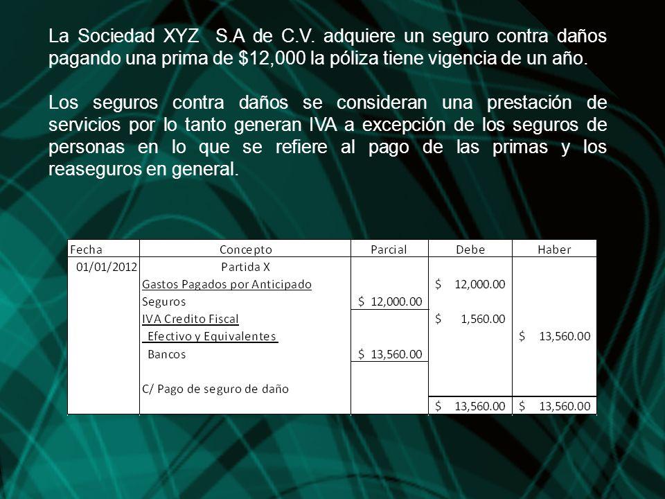 La Sociedad XYZ S.A de C.V. adquiere un seguro contra daños pagando una prima de $12,000 la póliza tiene vigencia de un año.