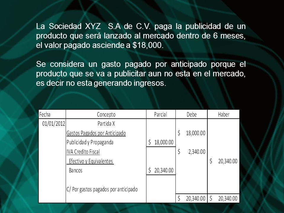 La Sociedad XYZ S.A de C.V. paga la publicidad de un producto que será lanzado al mercado dentro de 6 meses, el valor pagado asciende a $18,000.
