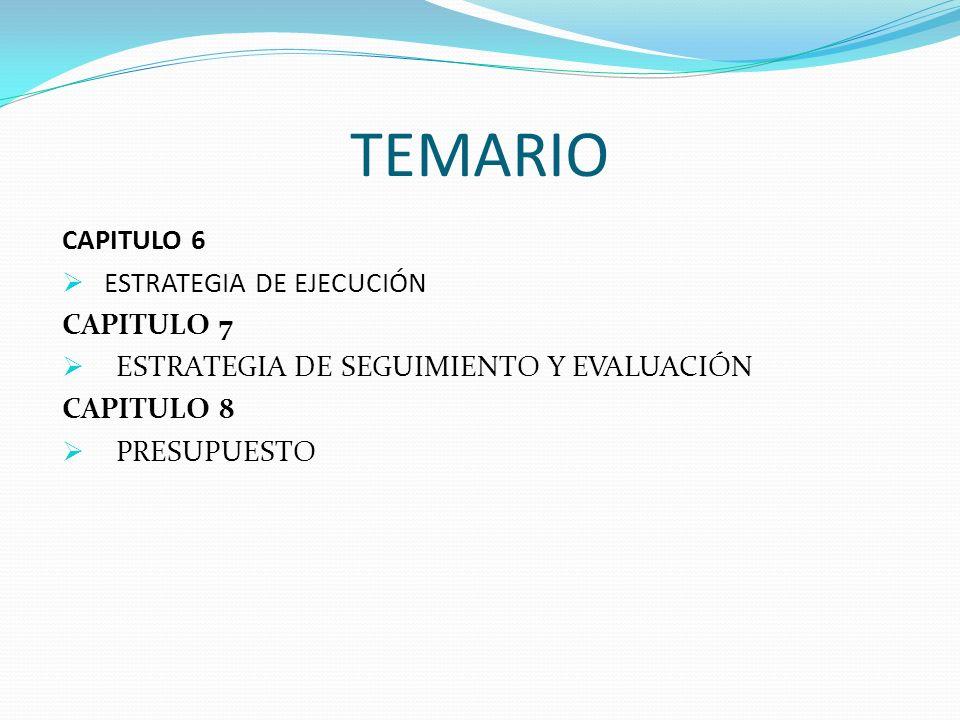 TEMARIO CAPITULO 6 ESTRATEGIA DE EJECUCIÓN CAPITULO 7