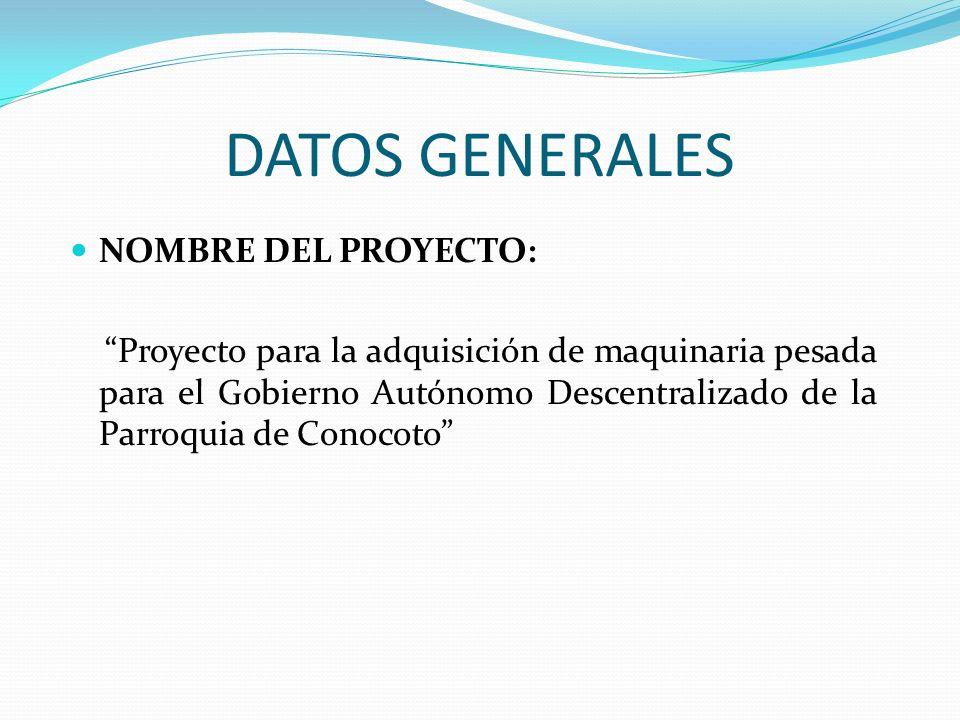 DATOS GENERALES NOMBRE DEL PROYECTO: