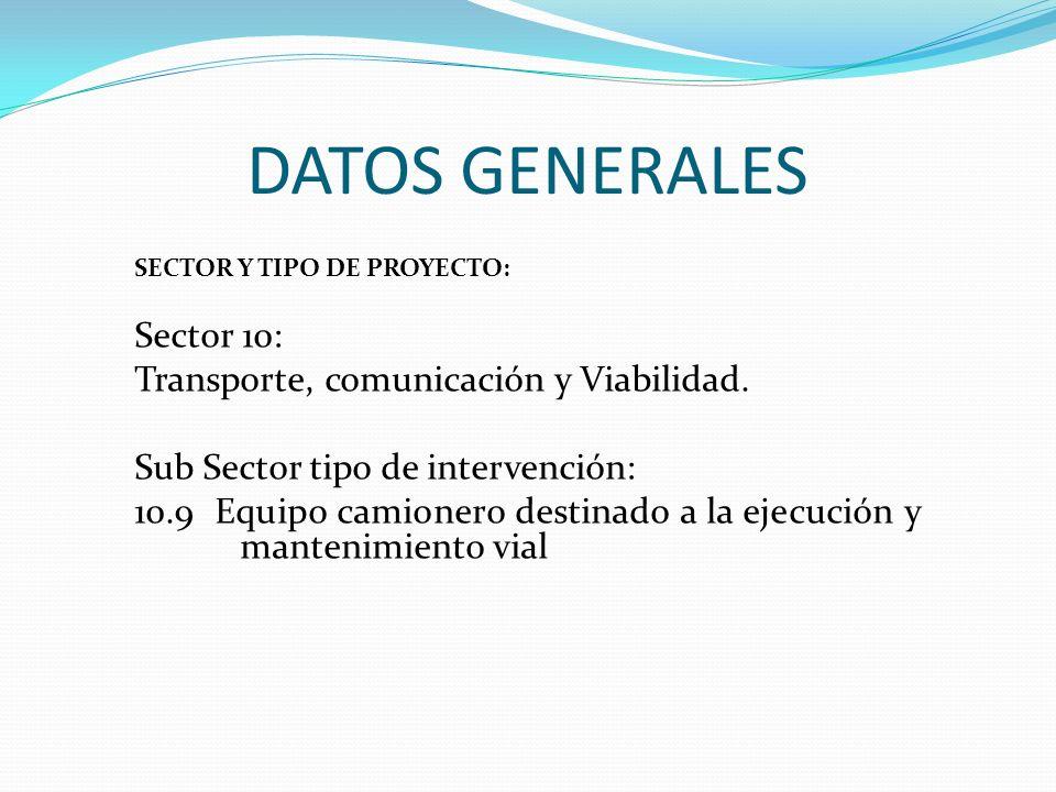 DATOS GENERALES Sector 10: Transporte, comunicación y Viabilidad.