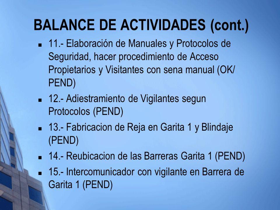 BALANCE DE ACTIVIDADES (cont.)