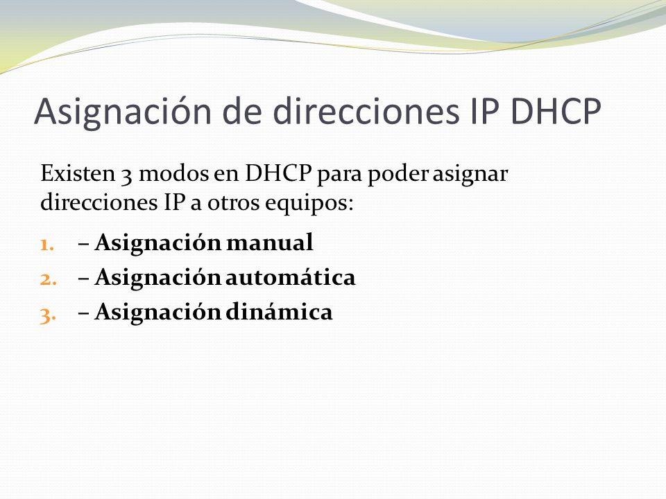 Asignación de direcciones IP DHCP