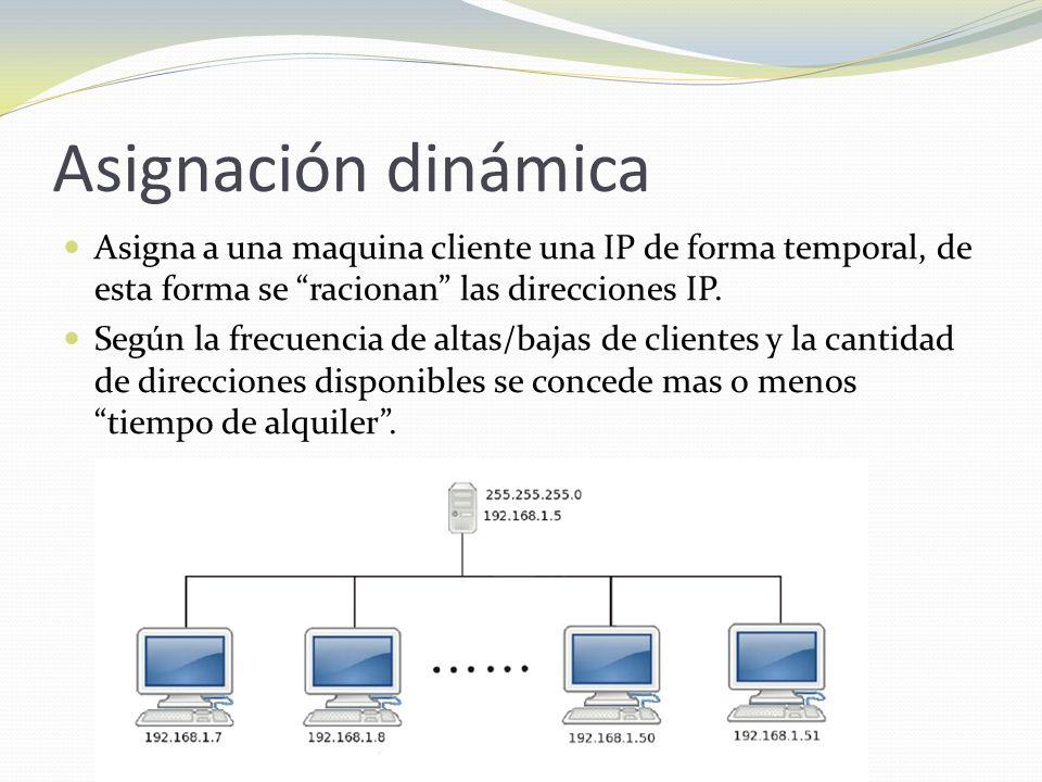 Asignación dinámica Asigna a una maquina cliente una IP de forma temporal, de esta forma se racionan las direcciones IP.
