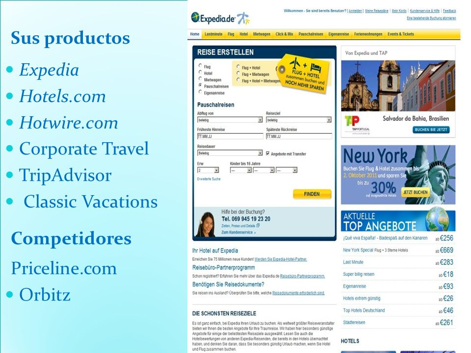 Sus productos Expedia. Hotels.com. Hotwire.com. Corporate Travel. TripAdvisor. Classic Vacations.