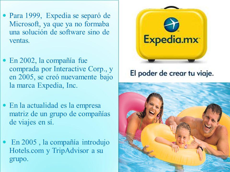 Para 1999, Expedia se separó de Microsoft, ya que ya no formaba una solución de software sino de ventas.
