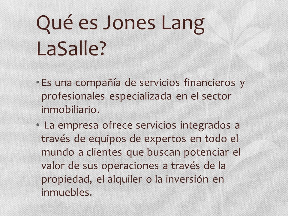 Qué es Jones Lang LaSalle