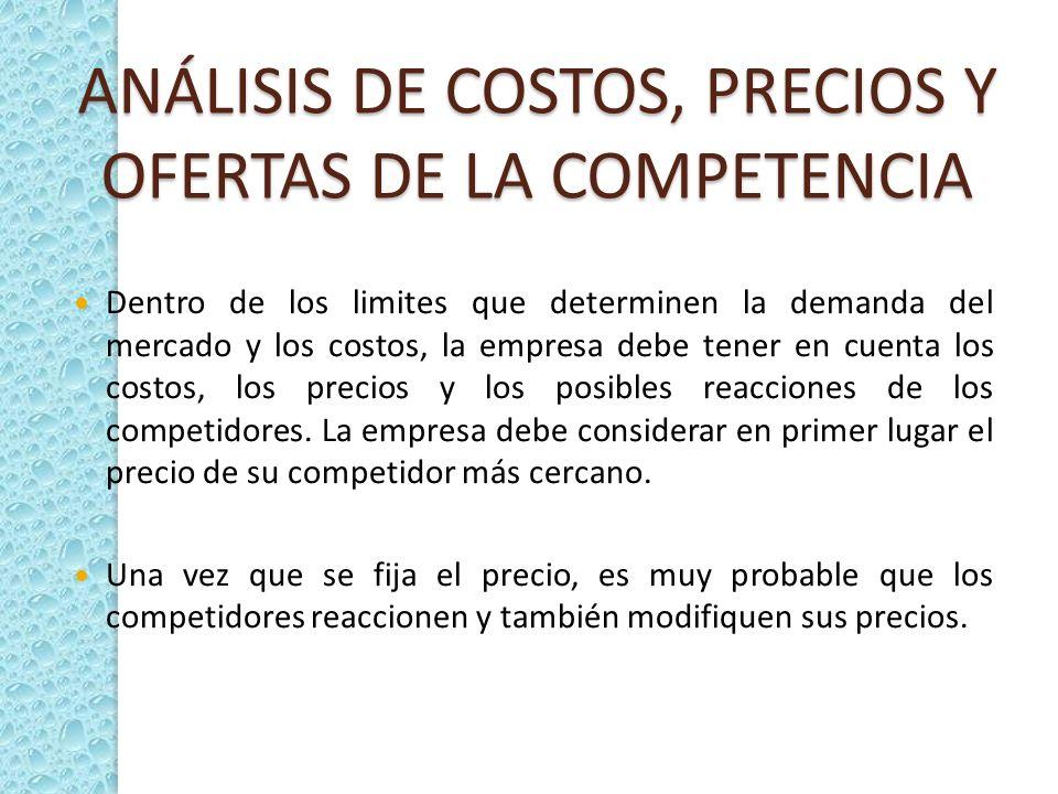 ANÁLISIS DE COSTOS, PRECIOS Y OFERTAS DE LA COMPETENCIA
