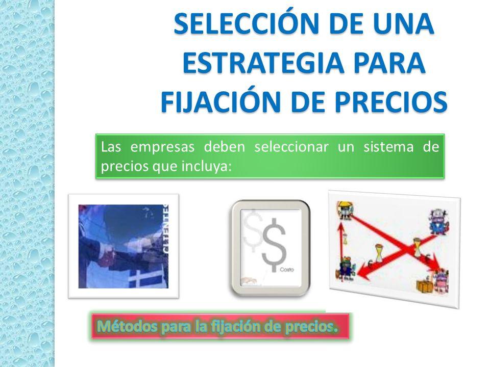 SELECCIÓN DE UNA ESTRATEGIA PARA FIJACIÓN DE PRECIOS