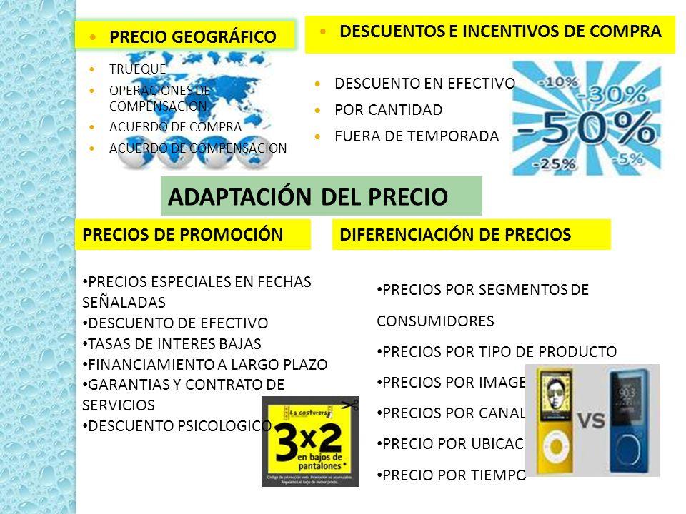ADAPTACIÓN DEL PRECIO DESCUENTOS E INCENTIVOS DE COMPRA