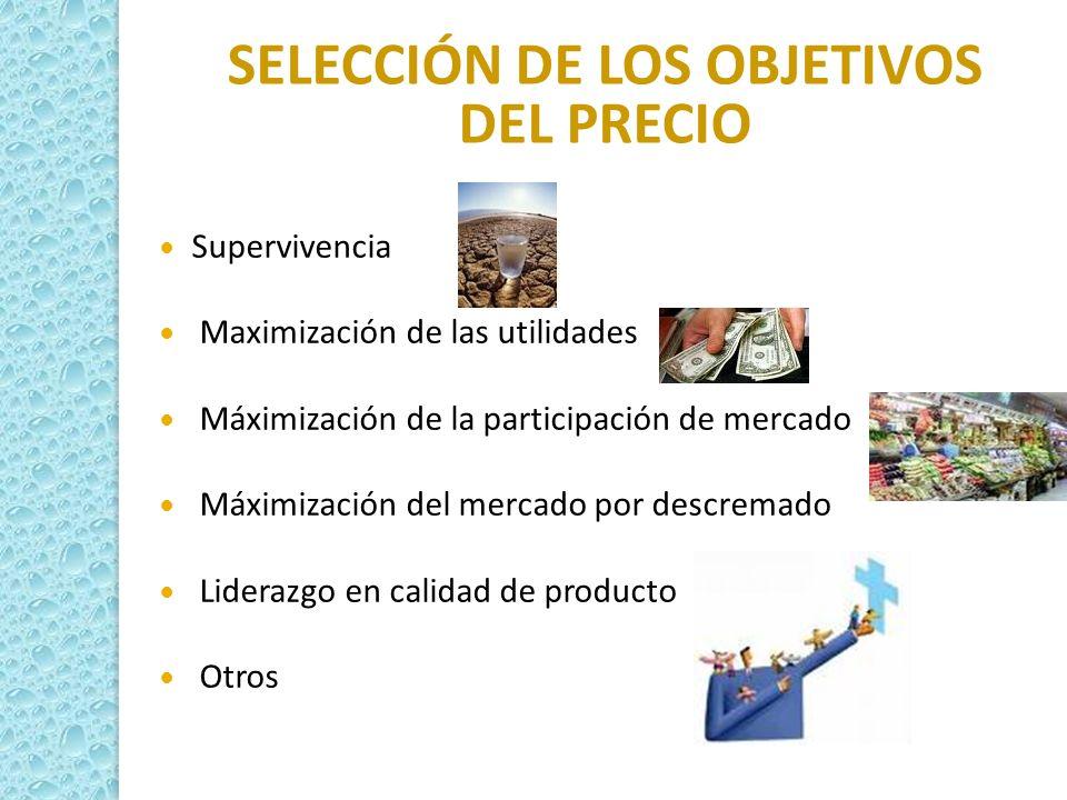 SELECCIÓN DE LOS OBJETIVOS DEL PRECIO