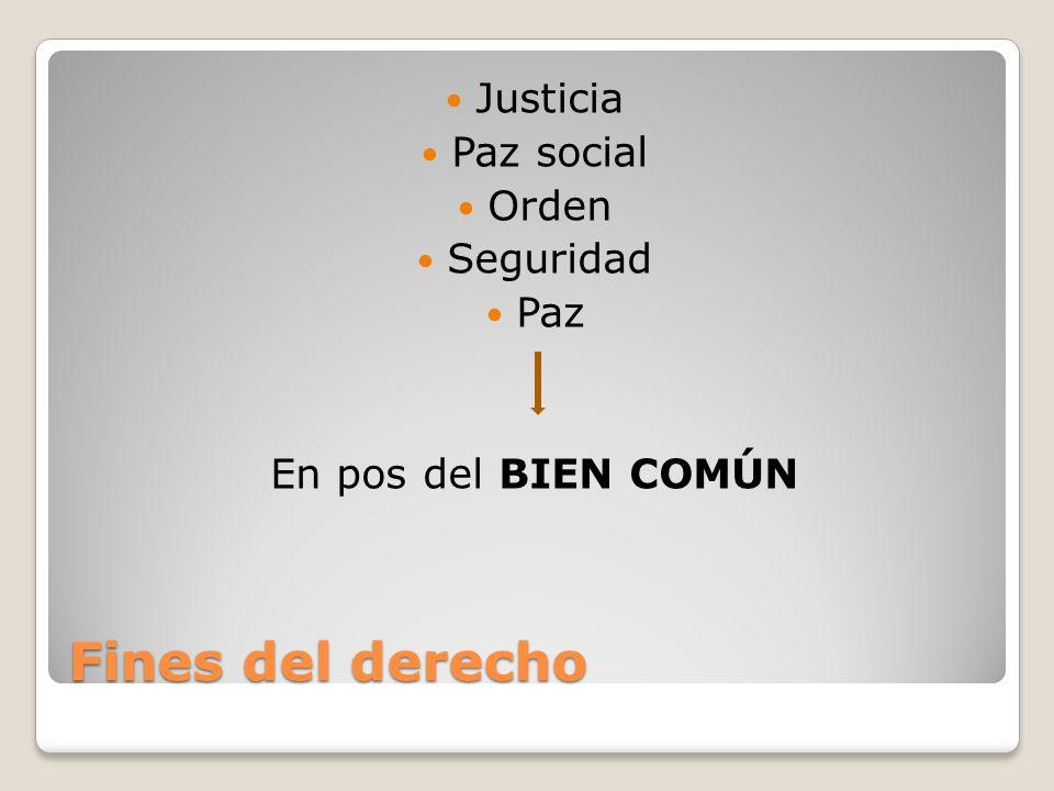 Fines del derecho Justicia Paz social Orden Seguridad Paz