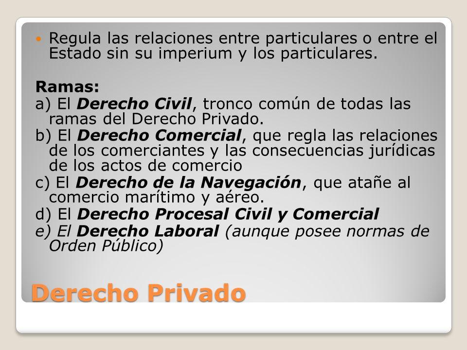 Regula las relaciones entre particulares o entre el Estado sin su imperium y los particulares.
