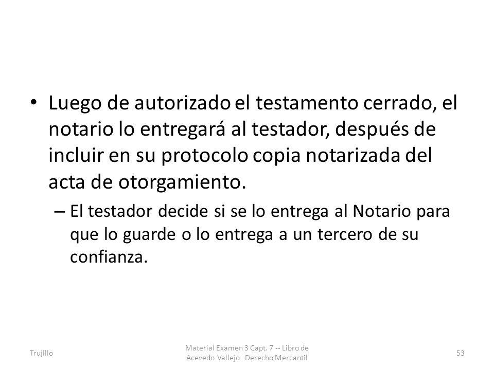 Luego de autorizado el testamento cerrado, el notario lo entregará al testador, después de incluir en su protocolo copia notarizada del acta de otorgamiento.