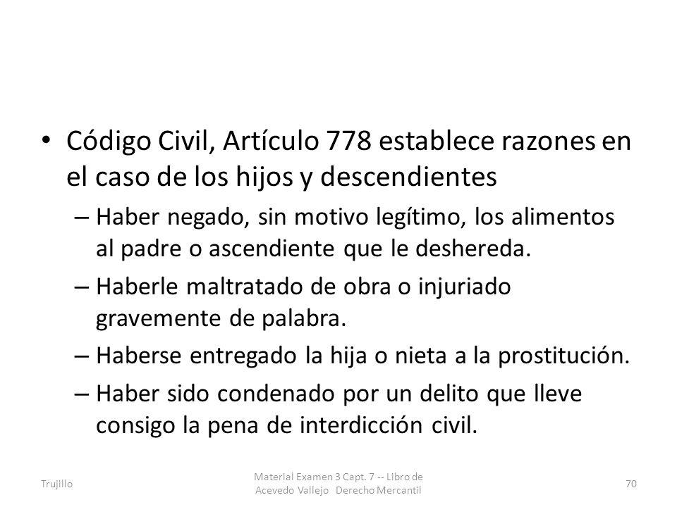 Código Civil, Artículo 778 establece razones en el caso de los hijos y descendientes