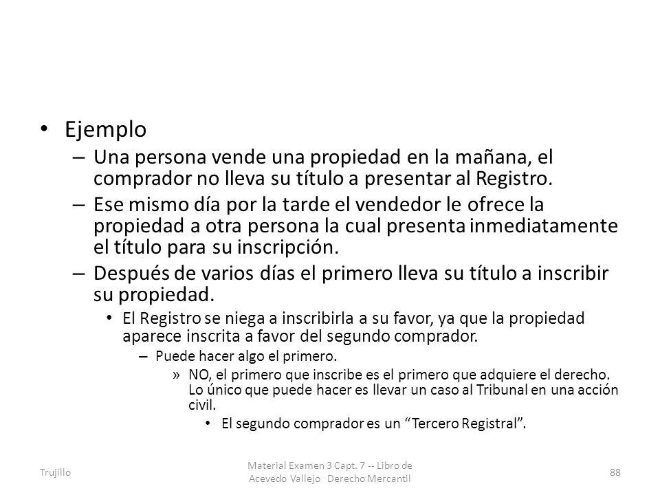 Ejemplo Una persona vende una propiedad en la mañana, el comprador no lleva su título a presentar al Registro.