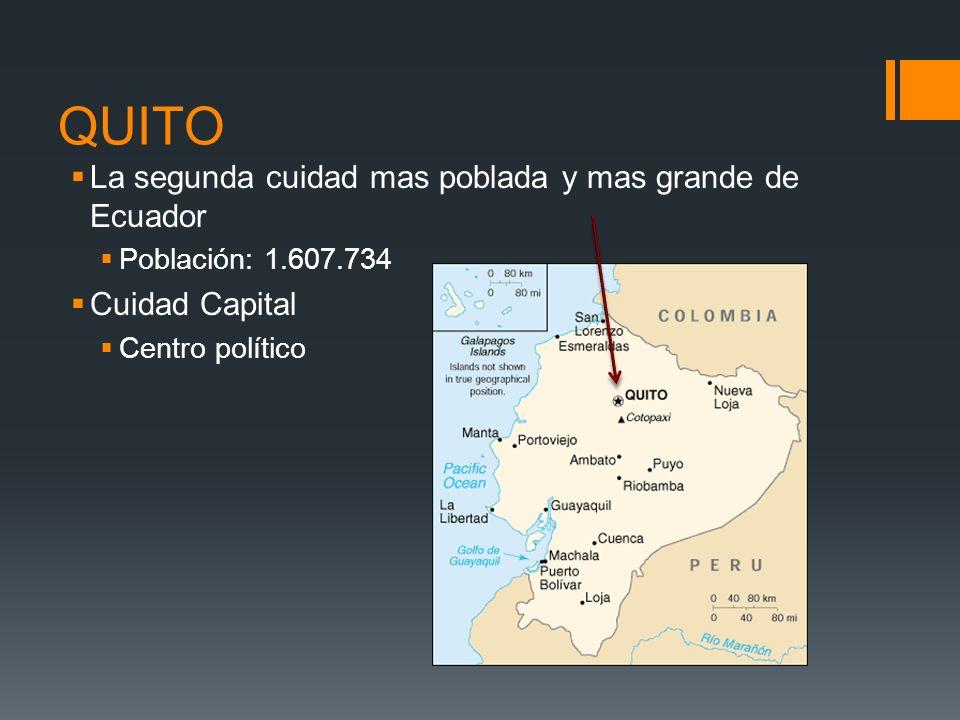 QUITO La segunda cuidad mas poblada y mas grande de Ecuador