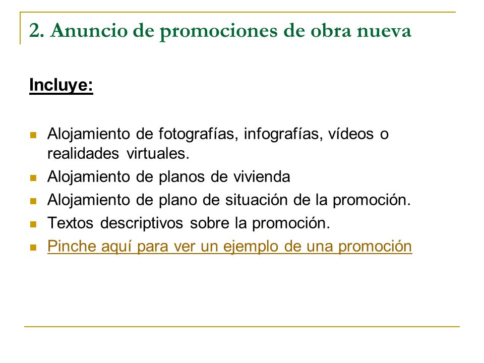 2. Anuncio de promociones de obra nueva