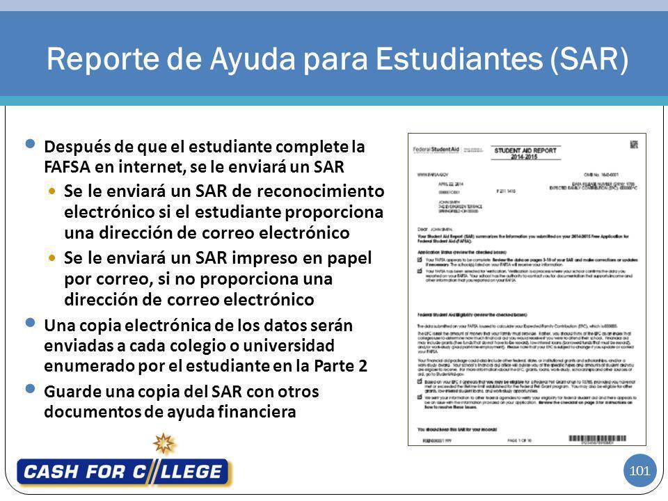 Reporte de Ayuda para Estudiantes (SAR)