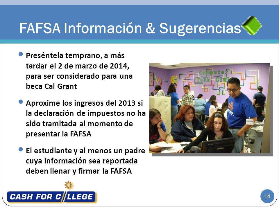 FAFSA Información & Sugerencias