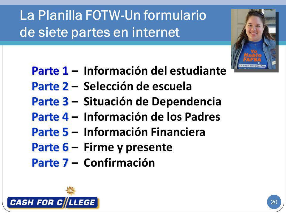 La Planilla FOTW-Un formulario de siete partes en internet