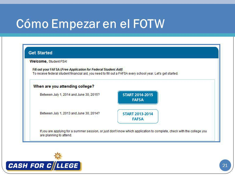 Cómo Empezar en el FOTW Getting Started on the FOTW