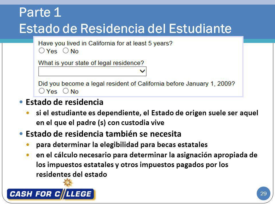 Parte 1 Estado de Residencia del Estudiante