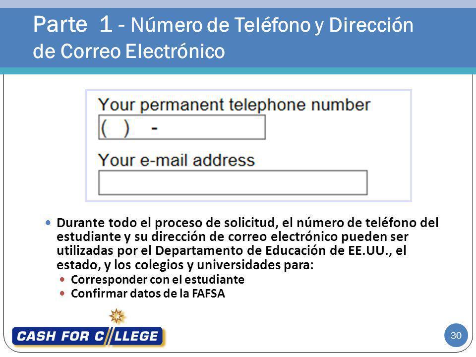 Parte 1 - Número de Teléfono y Dirección de Correo Electrónico
