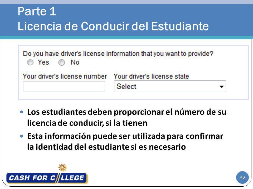 Parte 1 Licencia de Conducir del Estudiante