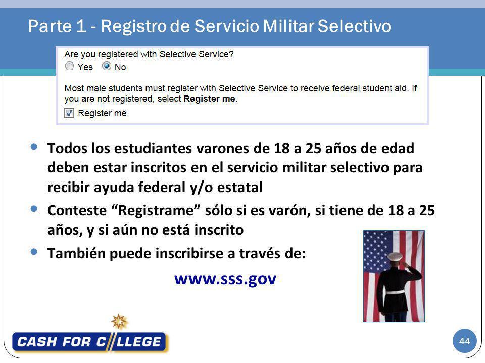 Parte 1 - Registro de Servicio Militar Selectivo