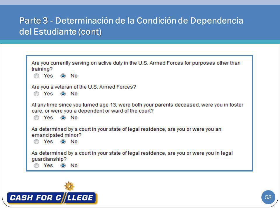 Parte 3 - Determinación de la Condición de Dependencia del Estudiante (cont)