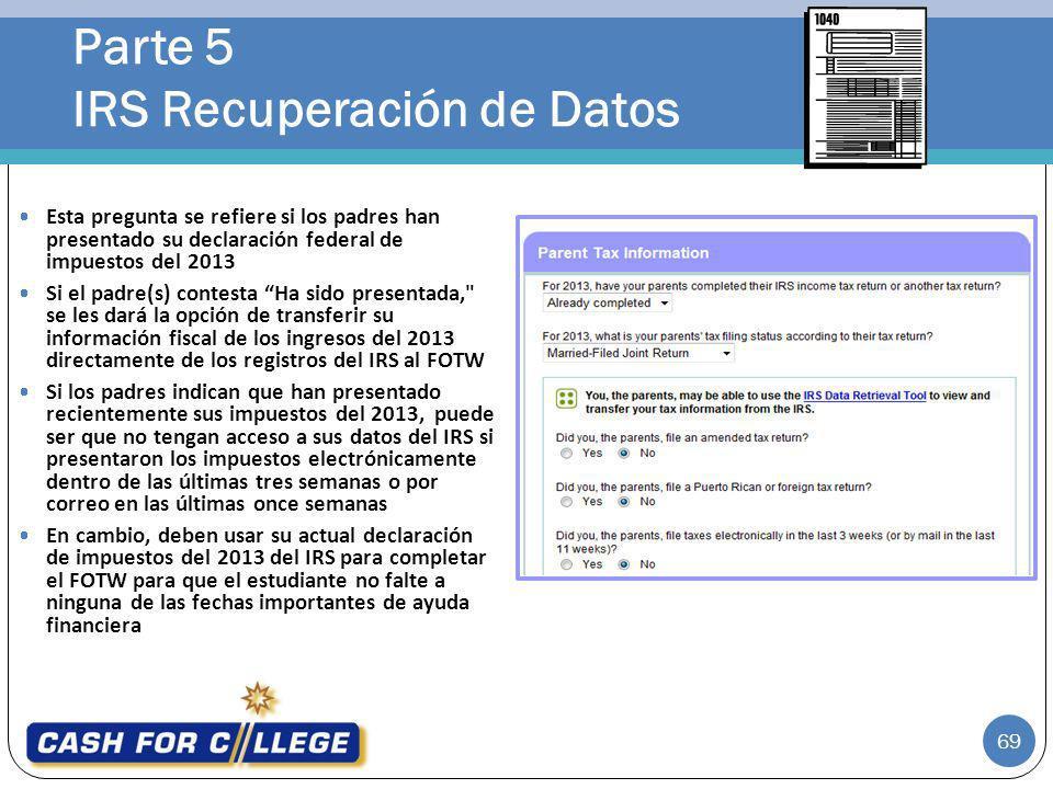 Parte 5 IRS Recuperación de Datos
