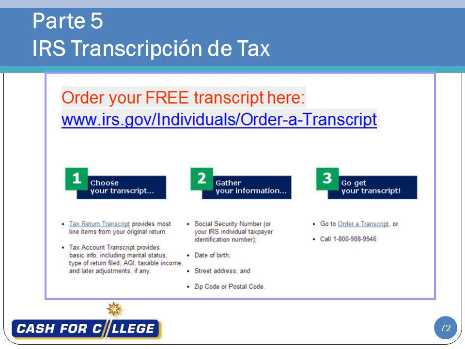Parte 5 IRS Transcripción de Tax