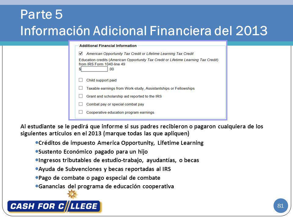 Parte 5 Información Adicional Financiera del 2013