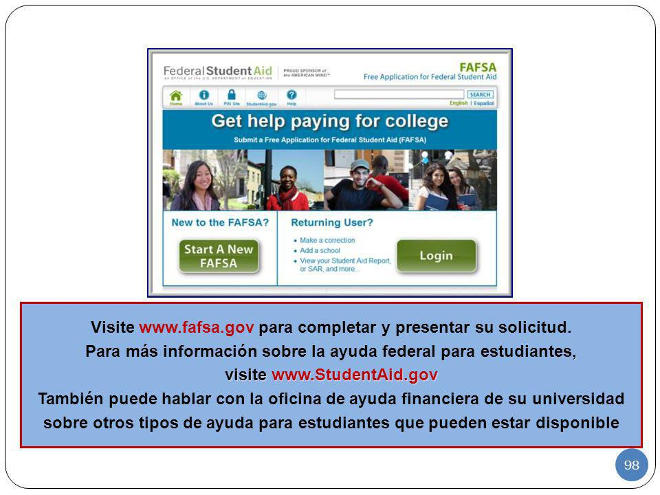Visite www.fafsa.gov para completar y presentar su solicitud.