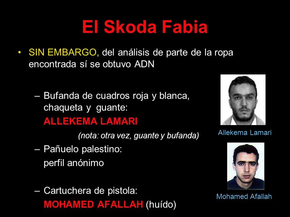 El Skoda Fabia SIN EMBARGO, del análisis de parte de la ropa encontrada sí se obtuvo ADN. Bufanda de cuadros roja y blanca, chaqueta y guante: