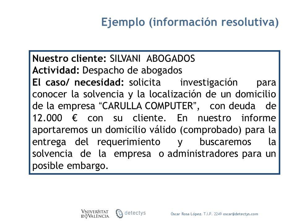 Ejemplo (información resolutiva)