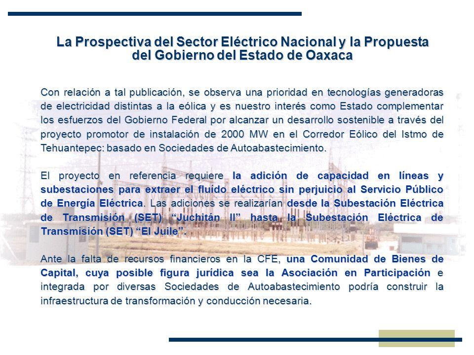 La Prospectiva del Sector Eléctrico Nacional y la Propuesta del Gobierno del Estado de Oaxaca