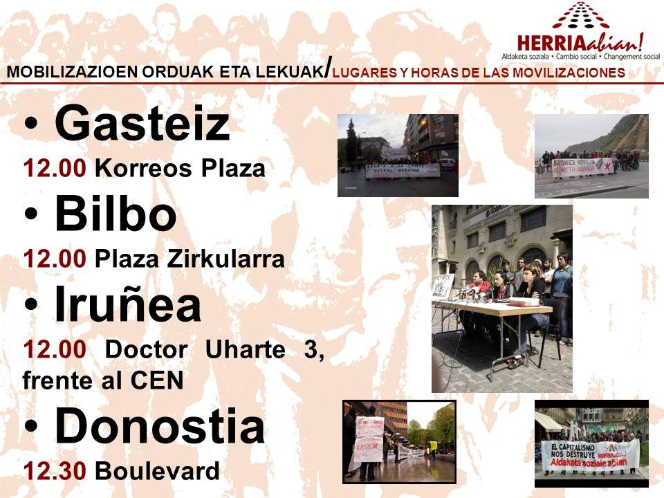 Gasteiz Bilbo Iruñea Donostia 12.00 Korreos Plaza