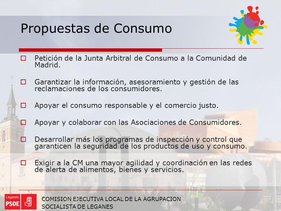 Propuestas de Consumo Petición de la Junta Arbitral de Consumo a la Comunidad de Madrid.